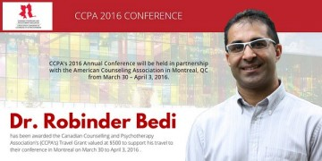March 2016: Dr. Bedi awarded the CCPA Conference Travel Award