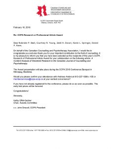 February 2018: CCPA's Research or Professional Article Award